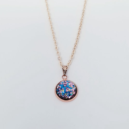 Spring Color Glitter Bomb in Rose Gold Cabochon Pendant Necklace