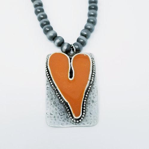 Long Beaded Orange Heart Ice Resin Necklace 9