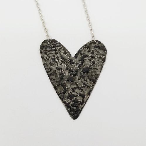 Long Black Heart Molten Solder Necklace 21