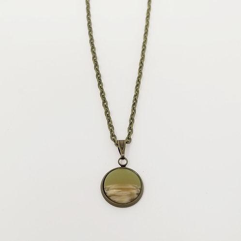 Olive & Wood in Antique Bronze Cabochon Pendant Necklace