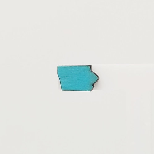 Teal Iowa Wood Stud Earrings