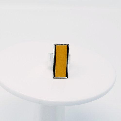 Mustard Leather & Metal Ring