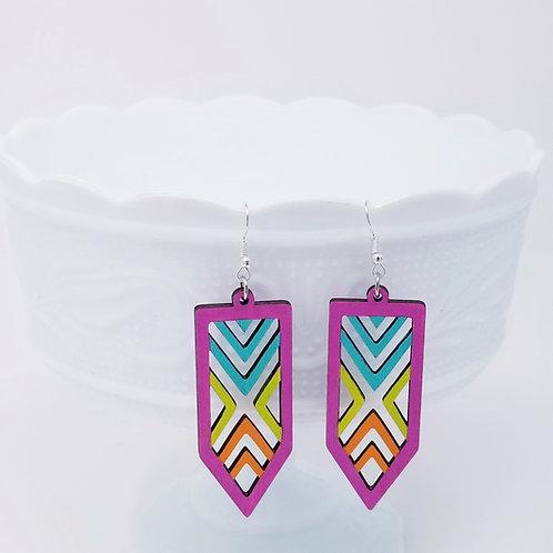 Summer Neon Wood Earrings