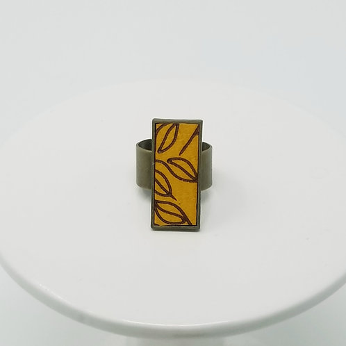 Marigold with Brown Leaves Leather & Metal Ring