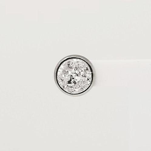Silver Faux Druzy 12mm Stud Earrings