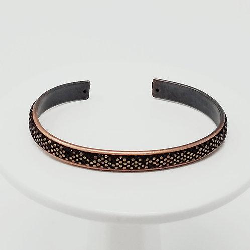 Metallic Copper & Bronze Adjustable Leather & Metal Cuff Bracelet