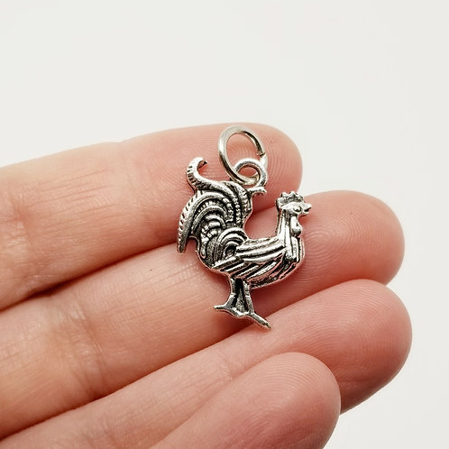 Rooster Silver Charm