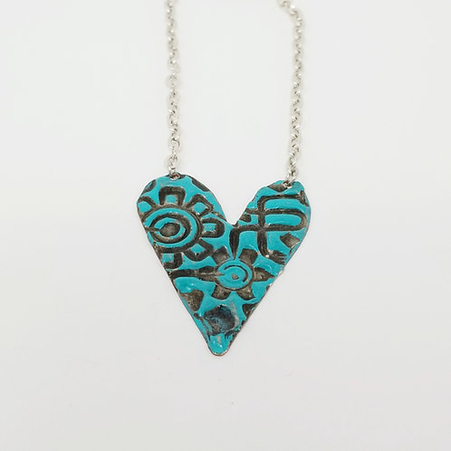 Medium Turquoise Heart Molten Solder Necklace 9