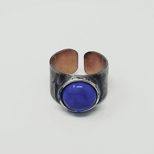 Royal Blue Howlite Soldered Brass Ring