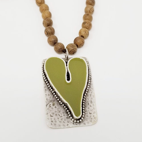 Long Beaded Olive Green Heart Ice Resin Necklace 16