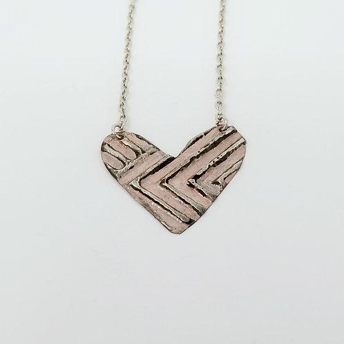 Short Rose Gold Heart Molten Solder Necklace 30