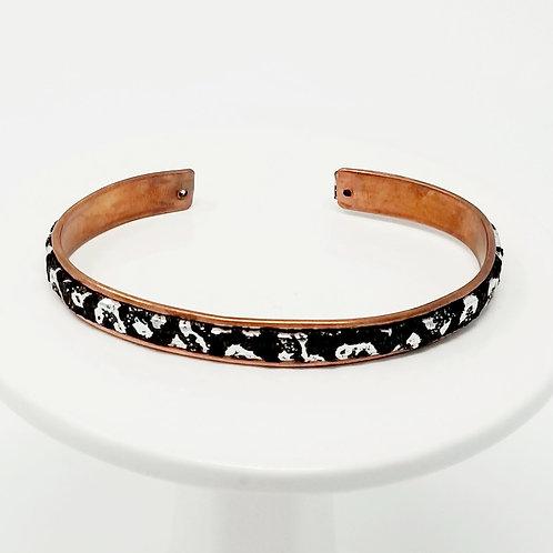 Black & Silver Mirror Leopard Adjustable Leather & Metal Cuff Bracelet