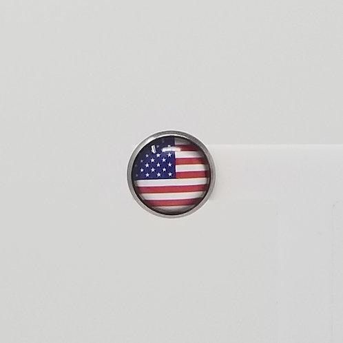 American Flag 12mm Round Stud Earrings