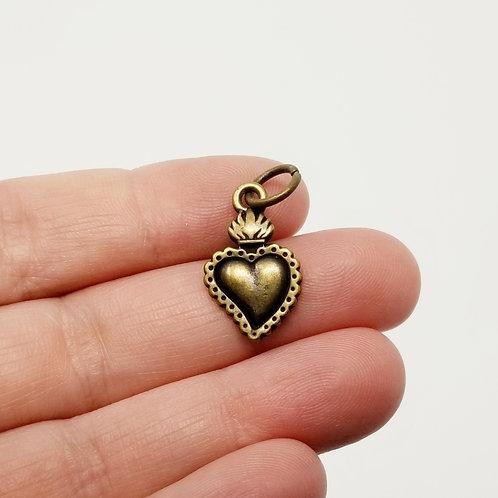 Sacred Heart Milagro Antique Bronze Charm