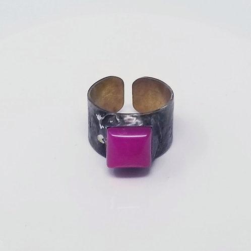 White Jade Dyed Magenta Soldered Brass Ring