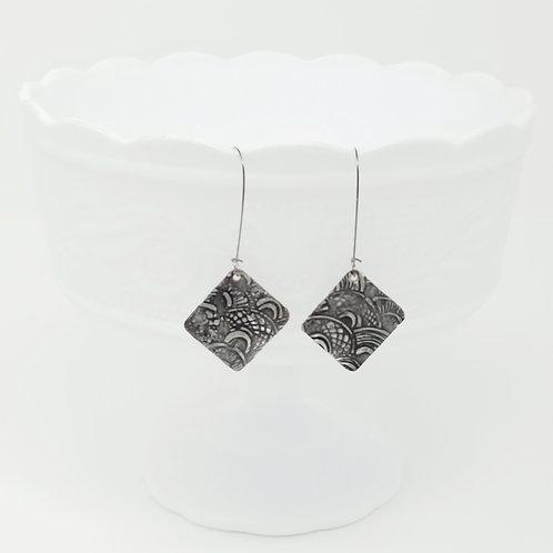 Long Diamond 1 Molten Solder Earrings