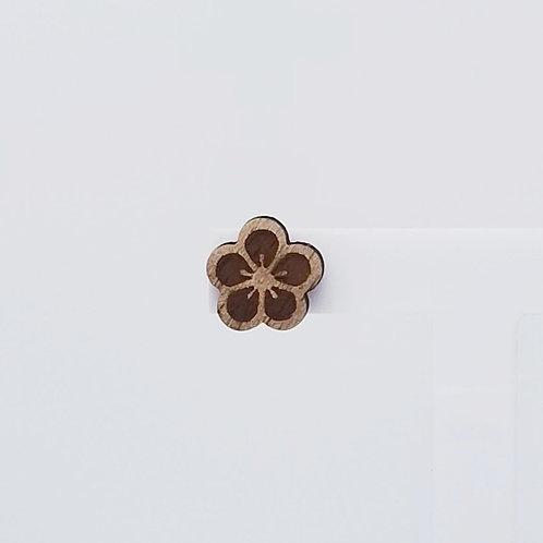 Small Flower Wood Stud Earrings