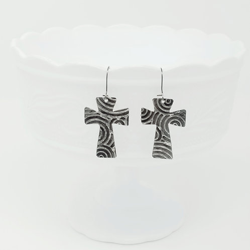 Medium Large Cross 1 Molten Solder Earrings