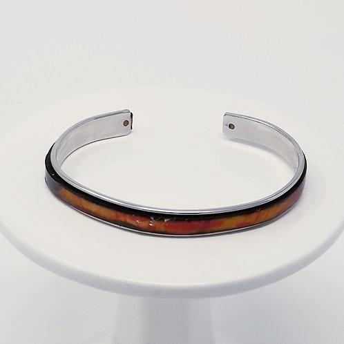 Autumn Brushstroke 2 Adjustable Leather & Metal Cuff Bracelet