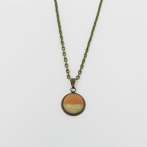 Peach & Wood in Antique Bronze Cabochon Pendant Necklace