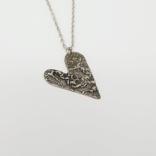 Short Patina Heart Molten Solder Necklace 24