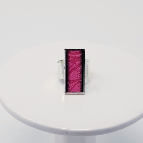 Pink Embossed Leather & Metal Ring