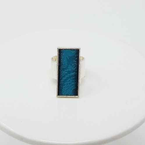 Teal Embossed Leather & Metal Ring