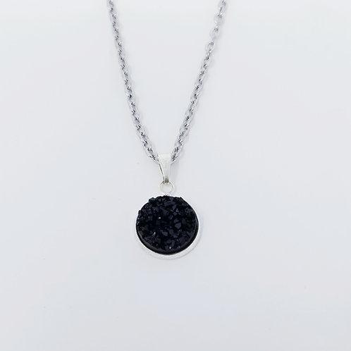 Black Faux Druzy in Antique Silver Cabochon Pendant Necklace