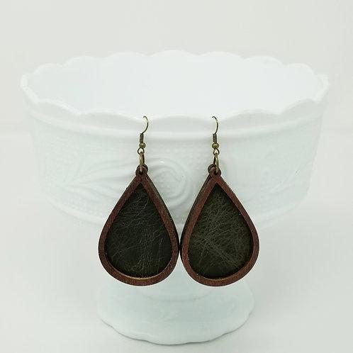 Distressed Dark Olive Genuine Leather & Wood Earrings