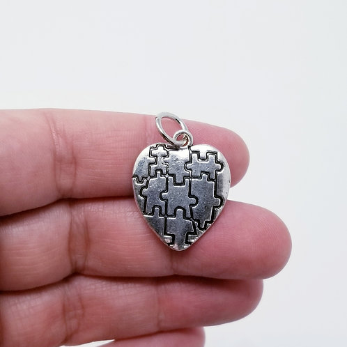 Autism Heart Silver Charm