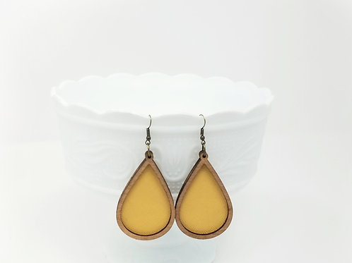 Light Mustard Yellow Divine Genuine Leather & Wood Earrings