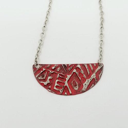 Short Red Half Moon Molten Solder Necklace 3
