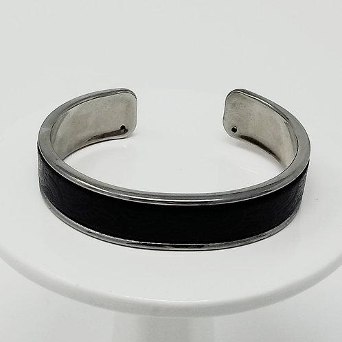 Black Embossed Firm Leather & Metal Cuff Bracelet