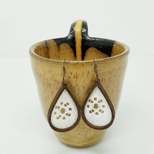 Vintage Lace 3 & Wood Earrings