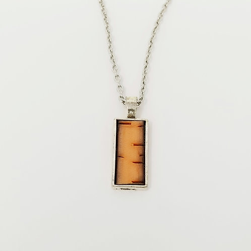 Short Orange Bark Leather & Metal Pendant Necklace 7