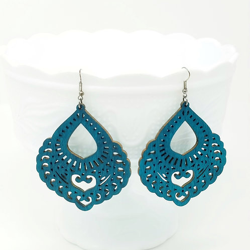 Dark Turquoise Wood Earrings