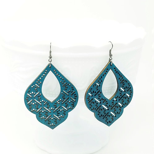 Dark Turquoise Wood Earrings