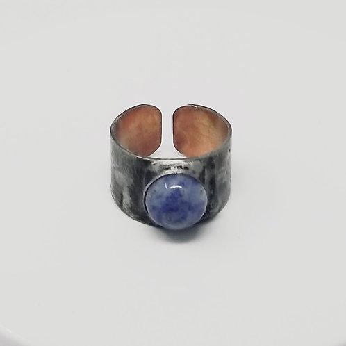 Blue Spot Stone Soldered Brass Ring