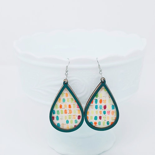 Colorful Paint Brush Dobs 3 Cork Leather & Wood Earrings