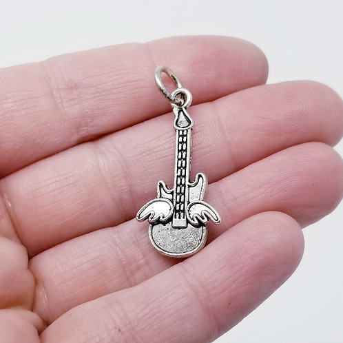 Guitar with Wings Silver Charm