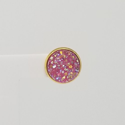 Pink Lemonade Faux Druzy 12mm Stud Earrings