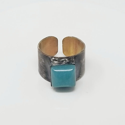White Jade Dyed Teal Soldered Brass Ring