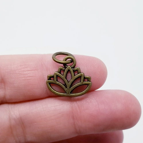 Lotus Flower Antique Bronze Charm