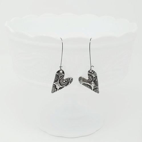 Long Petite Heart 2 Molten Solder Earrings