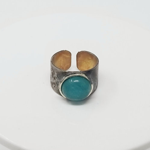 White Jade Dyed Teal Soldered Brass 2Ring