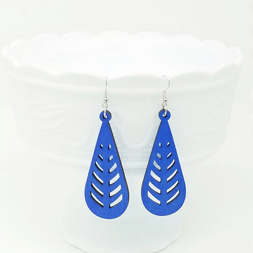 Royal Blue Wood Earrings