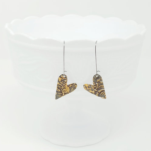 Long Petite Heart 1 Molten Solder Earrings