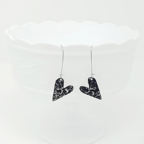 Long Petite Heart 3 Molten Solder Earrings