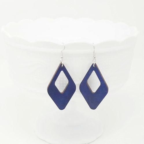 Cutout Diamond Triangle Wood Earrings