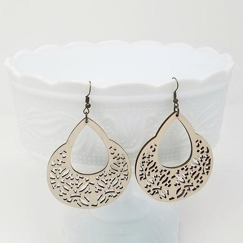 Cream Wood Earrings